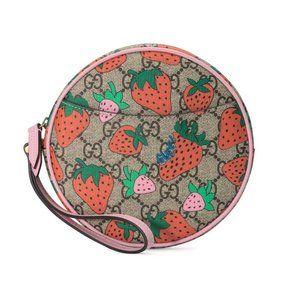 Gucci GG Supreme Strawberry Print Round Wristlet